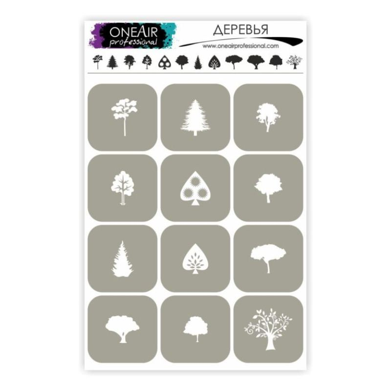 "Stencils for airbrushing on nails OneAir ""Trees"""