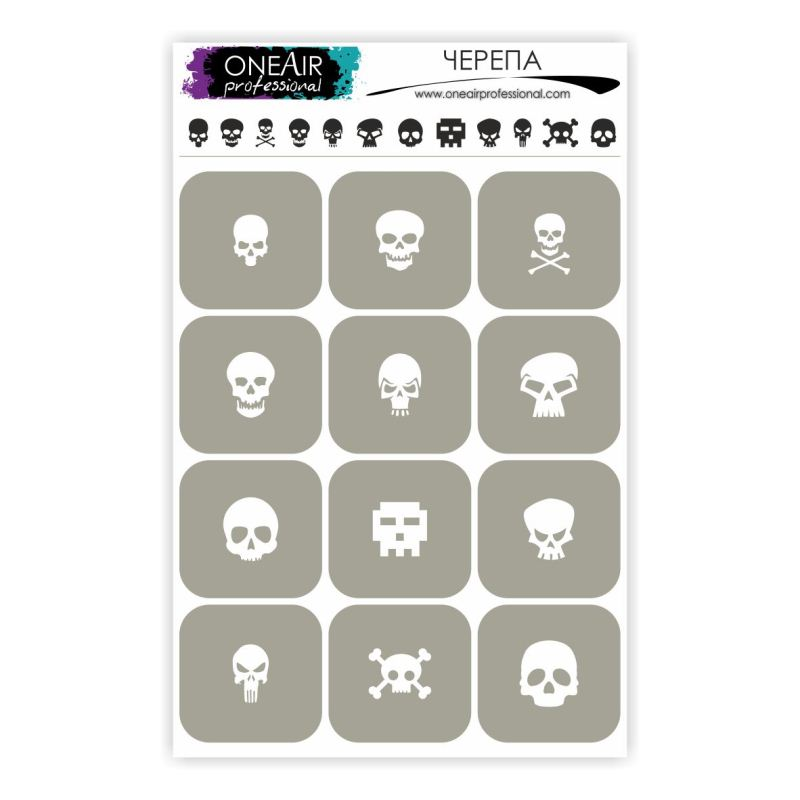 "Stencils for airbrushing on nails OneAir ""Skulls"""