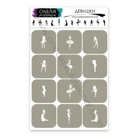 """Stencils for airbrushing on nails OneAir """"Girls"""""""