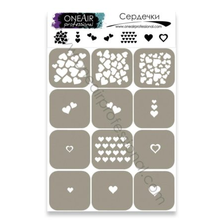 """Stencils for airbrushing on the nails OneAir """"Hearts"""""""
