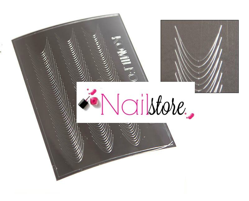 Metallic nail sticker silver -S00007