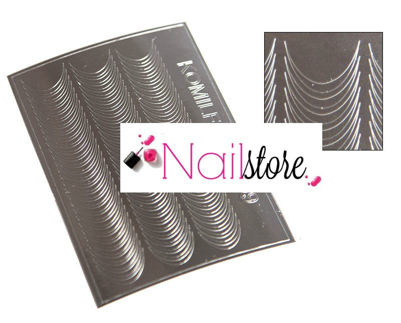 Metallic nail sticker silver -S00009