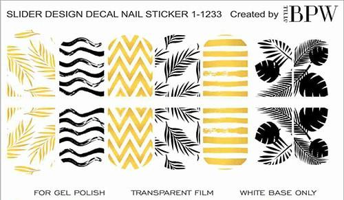 Decal nail sticker yellow pattern