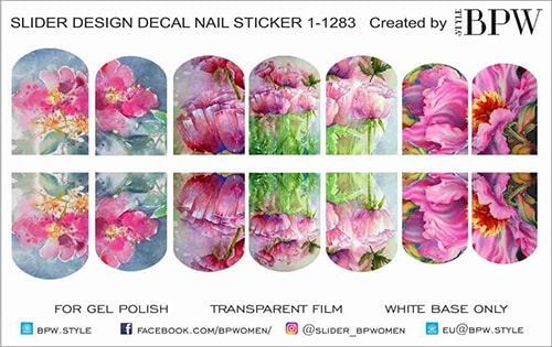 Decal nail sticker Watercolor flowers pink