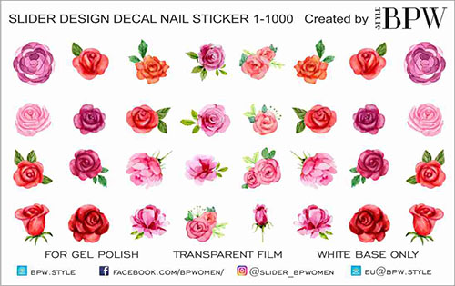 Decal nail sticker Watercolor roses