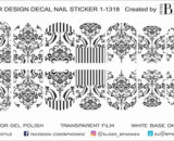 Decal nail sticker Black tracery