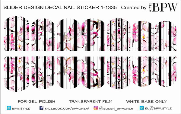 Decal nail sticker Flowers & Stripes