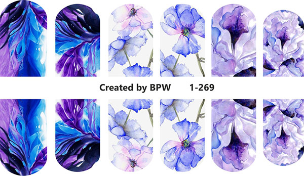 Decal nail sticker Watercolor flowers blue