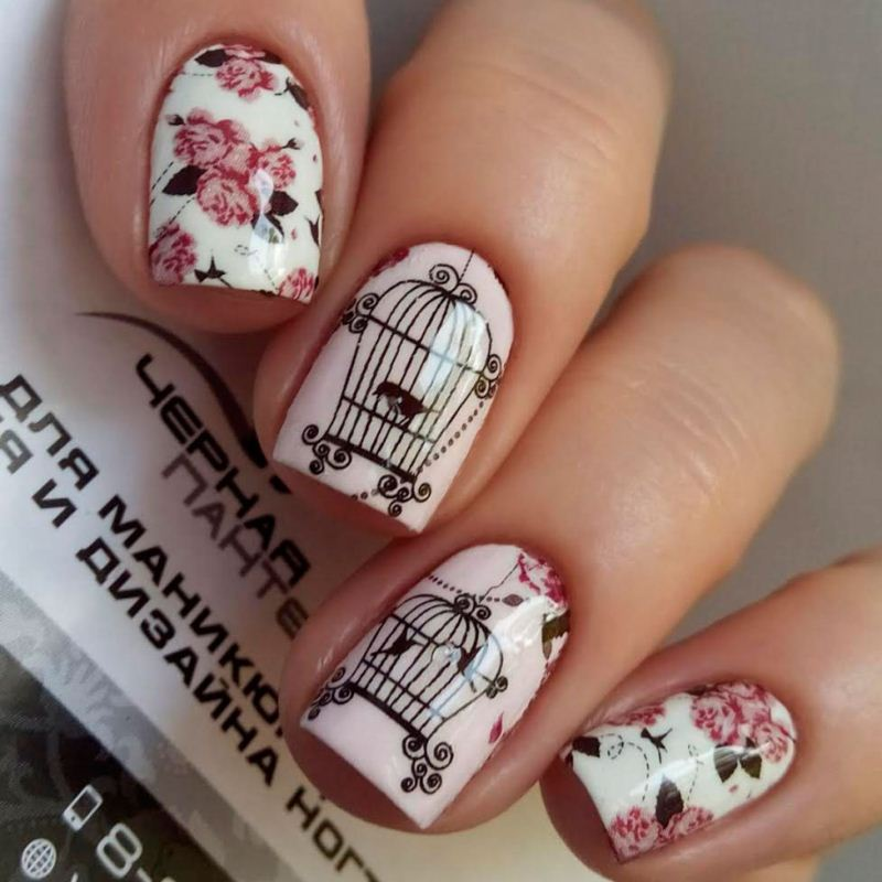 Decal nail sticker Flowers & Cage