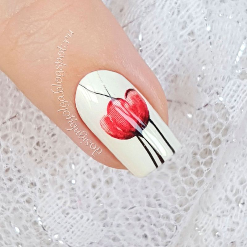 Decal nail sticker Red flowers