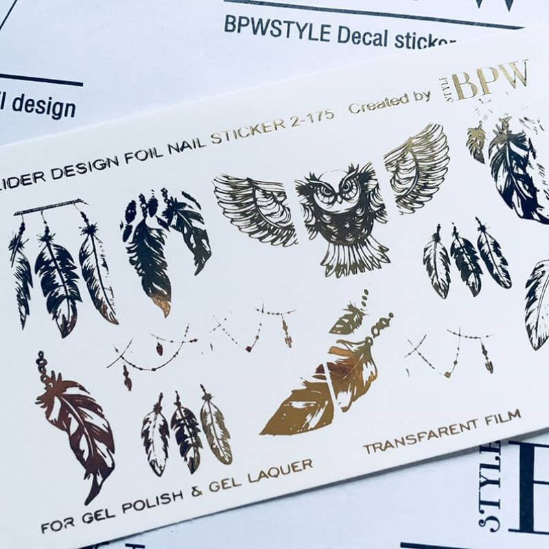 Foil decal sticker Ethnic with feathers Gold