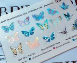 Decal nail sticker Butterflies Silver Holo