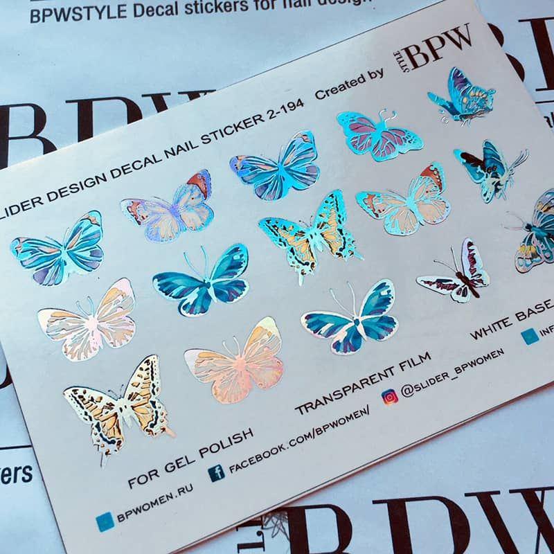 Decal nail sticker Butterflies Silver Holo