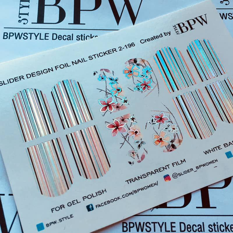Decal nail sticker Flowers & Stripes Silver Holo