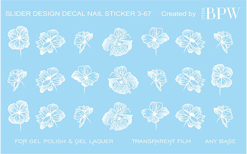 Decal nail sticker White flowers