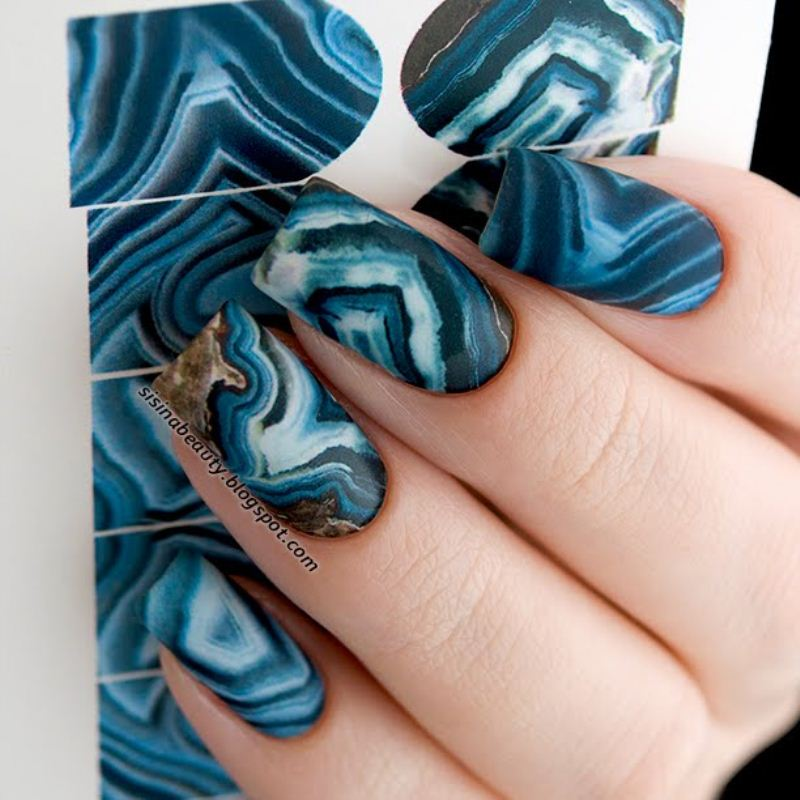 Decal nail sticker Stone Blue