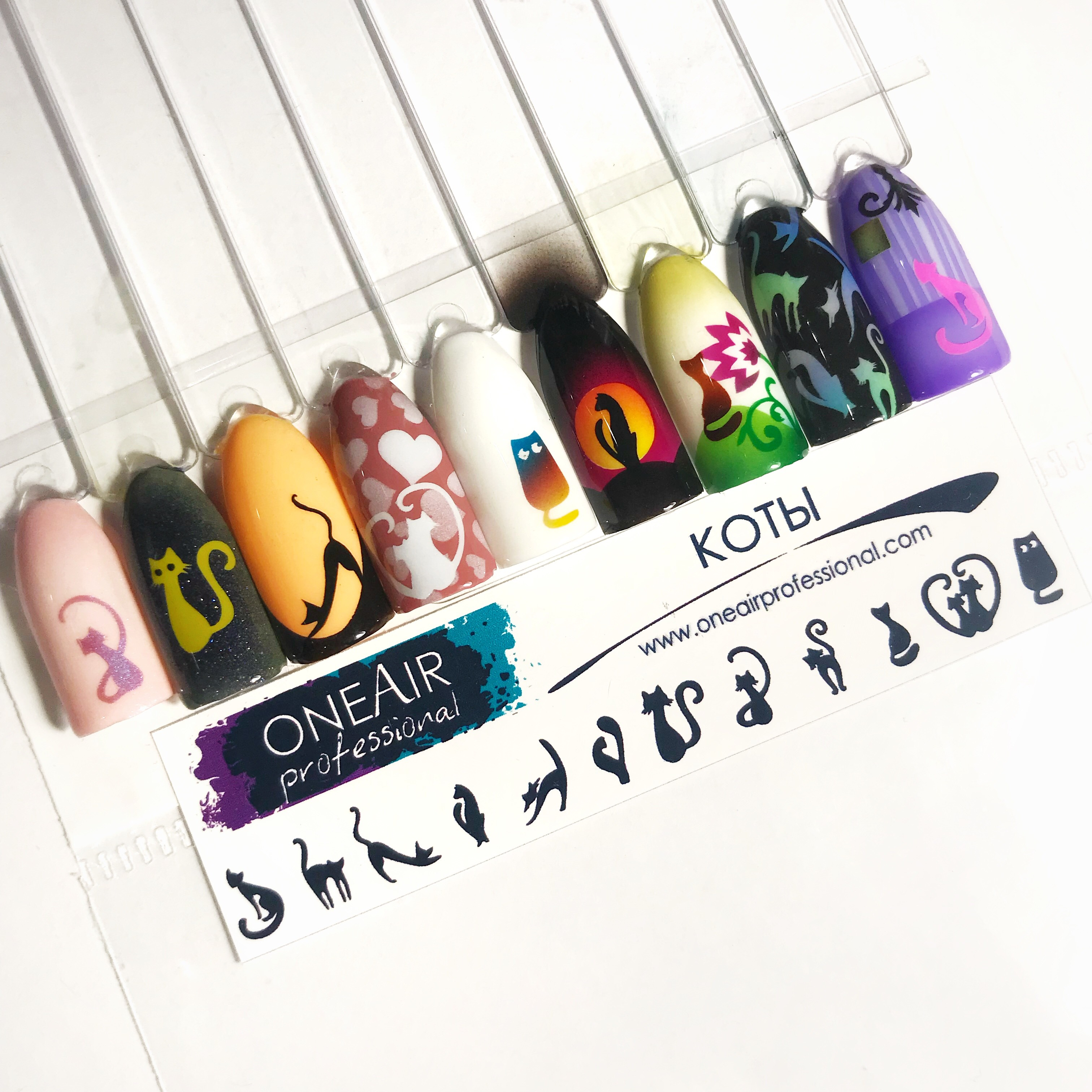 """Stencils for airbrushing on nails OneAir """"Cats"""""""