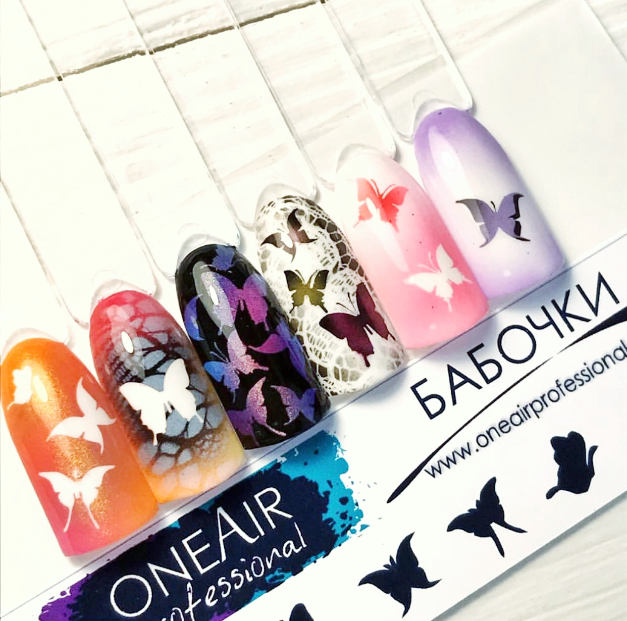 "Stencils for airbrushing on the nails OneAir ""Butterflies"""