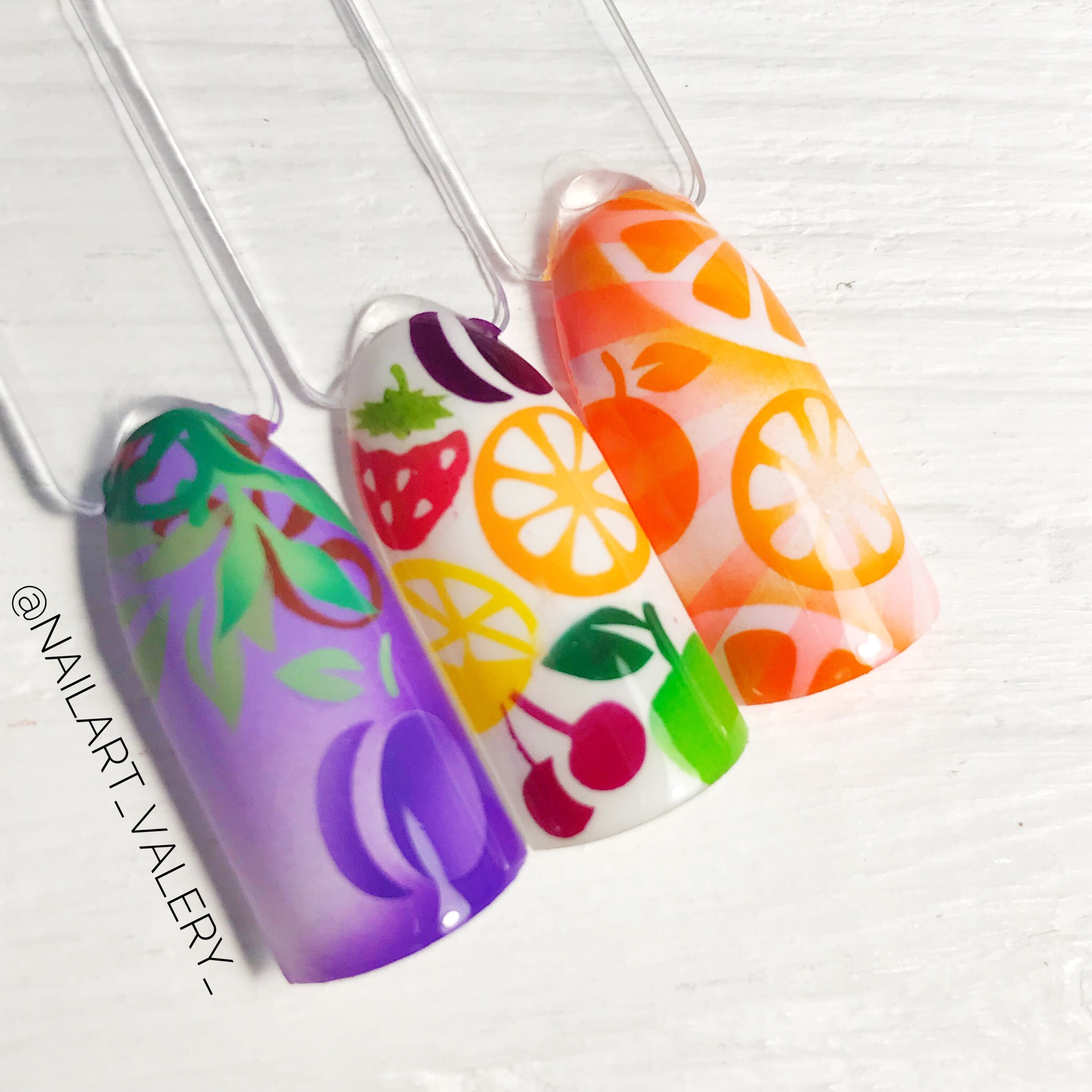"Stencils for airbrushing on nails OneAir ""Fruits"""
