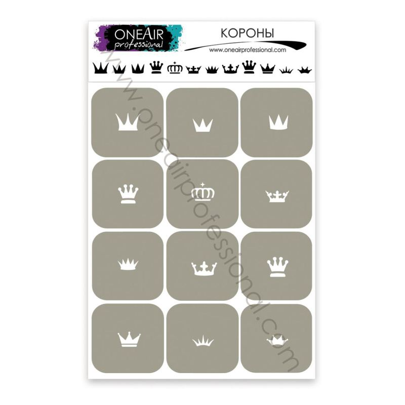 """Stencils for airbrushing on the nails OneAir """"Crowns"""""""