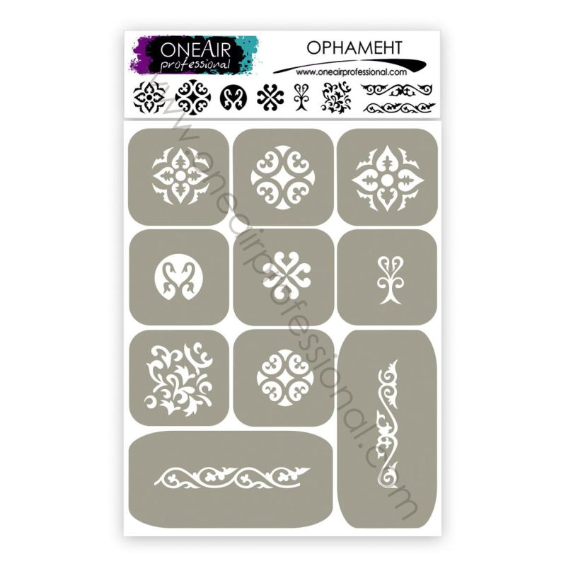 "Stencils for airbrushing on nails OneAir ""Ornament"""